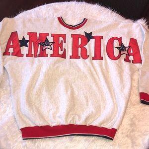 Vintage Oversized AMERICA Crewneck Sweatshirt XL